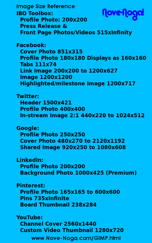 Social Network Image Size Reference